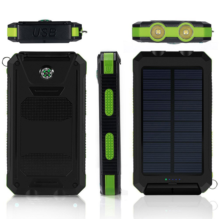 Solar power bank 10000mAh Green