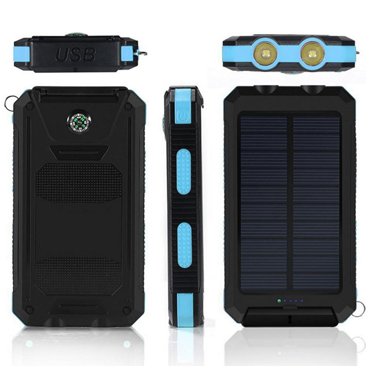 Solar power bank 10000mAh Blue